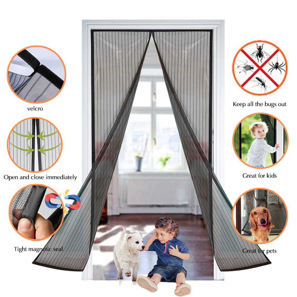 Magnetic Fly Insect Door Screen,Pomisty Insect Curtain Protection,Fly Net for Doors,No More Mosquitoes, More fresh Air, Breathable and Soft -- Black