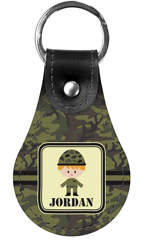 Green Camo Genuine Leather Keychain Personalized