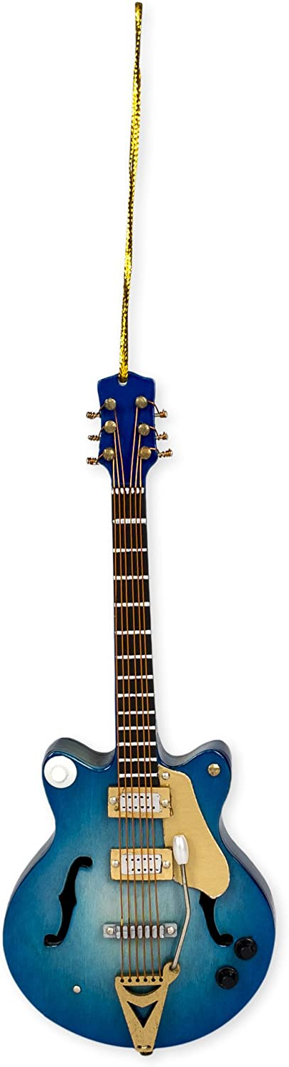 Broadway Gift Navy Electric Guitar Music Instrument Replica Christmas Ornament, Size 5 inch