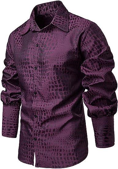 Camisa de Caballero con Estampado de cocodrilo para Montar a Caballo, Casual, Ajustada, Manga para Farol - Morado - Medium: Amazon.es: Ropa y accesorios