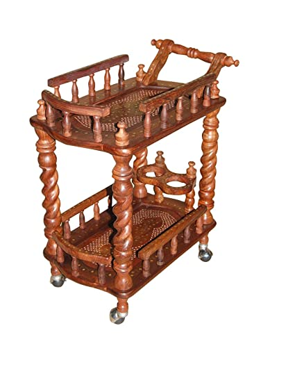 Desi Karigar Wooden Carved Serving Cart (Brown, Height - 31 inches, Width - 30 inches, Depth - 18 inches)