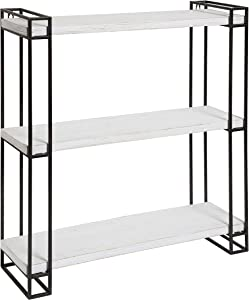 Kate and Laurel Lintz Modern Industrial Wood and Metal Floating Wall Shelves with Black Metal Frame, Rustic White