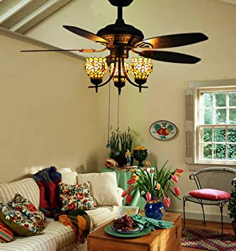 Ceiling Fans With Stained Glass: Makenier Vintage Tiffany Style Stained Glass 3-light Flowers Uplight  5-blade Ceiling Fan,Lighting