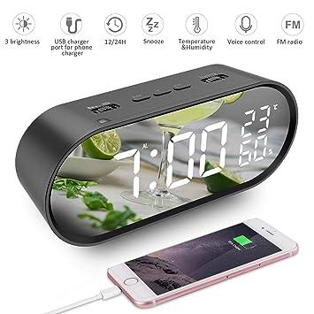 szdavsi LED Digital Alarma Inteligente Despertador Reloj Sonidos Alarma 6,5 Pulgadas con Radio FM USB Puertos de Carga Función Snooze Pantalla de ...