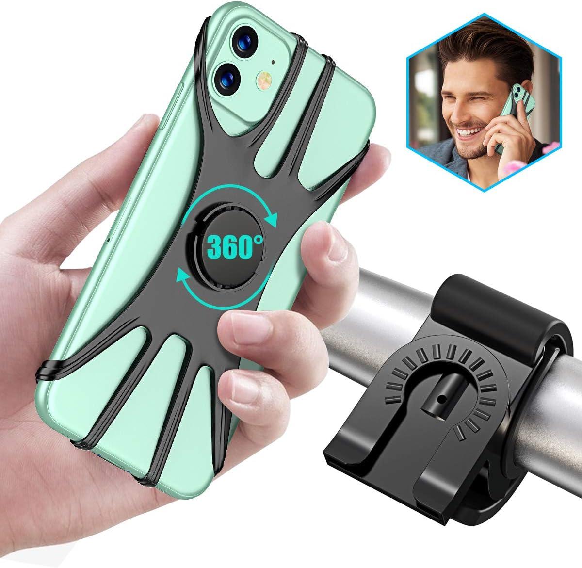 Cocoda Soporte Movil Bici Desmontable, 360°Rotación Soporte Móvil Moto, Ajustable Soporte Teléfono Manillar Compatible con iPhone 12/12 Pro/12 Mini/iPhone 11 Pro Max/11 Pro/11, Samsung(4.0
