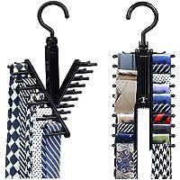 Bow Tie Rack Hanger Black Holder 2 Pcs 360 Degree RotatingAdjustable Organizer with Non-Slip ClipsChoker Belt Scarf Necktie Cross HangerCompact Closet Organizer for Closet, Securely Up to 20 Ties