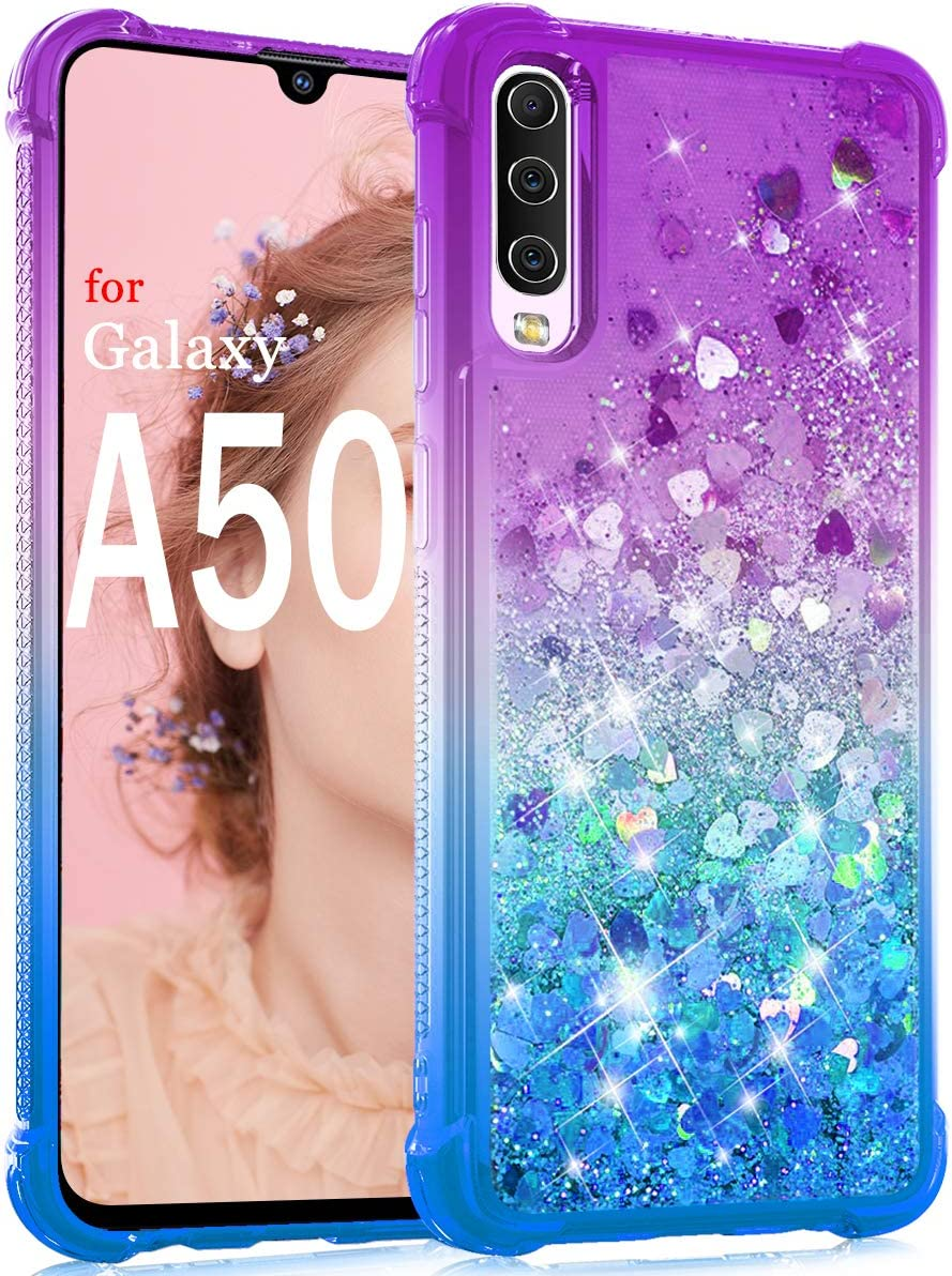 Dzxouui for Galaxy A50 Case,Galaxy A50S/A30S Case,TPU Protective Cover for Girls and Women Glitter Bling Sparkle Cute Phone Case for Samsung Galaxy A50S/A30S/A50(Purple/Blue)