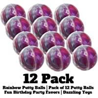 Dazzling Toys Rainbow Putty Balls - Pack of 12 - Fun Birthday Party Favors