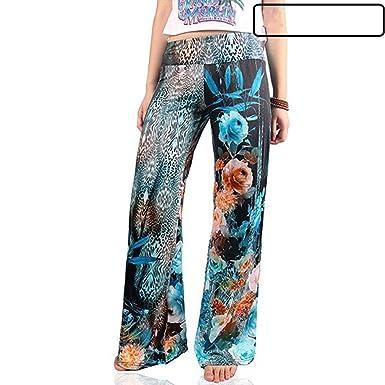fc5d7b5f7566 Femme Pantalon Large Vintage Fashion Impression Pantalon Ete Elégante Pants  Désinvolte Confortable Bouffant Pantalon De Loisirs