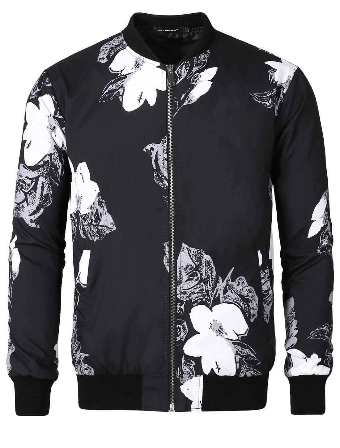 Lars Amadeus Men Casual Print Floral Zipper Lightweight Baseball Flight Bomber Jacket Black Medium by Lars Amadeus