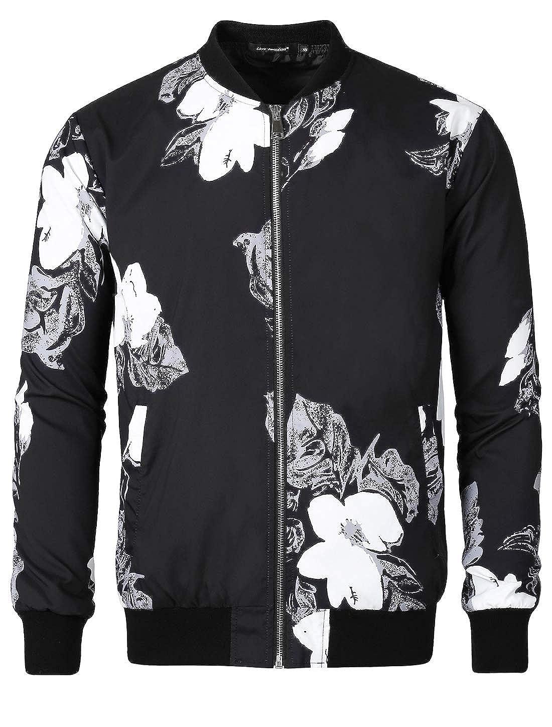 c9f8ea3bb Lars Amadeus Men Bomber Jacket Floral Print Zipper Casual Flight  Lightweight Coat Jackets