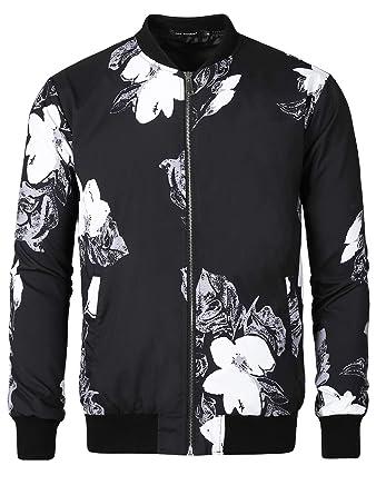 c96af468df56e Lars Amadeus Men Bomber Jacket Floral Print Zipper Casual Flight  Lightweight Coat Jackets Black Small