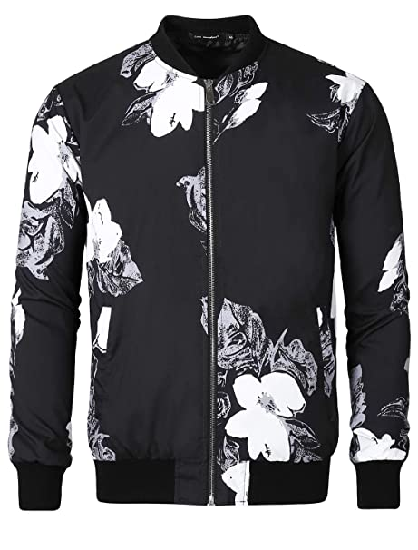 996dfbc54 Lars Amadeus Men Bomber Jacket Floral Print Zipper Casual Flight ...