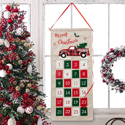 Fabric With Count Down For Christmas 2020 Amazon.com: GMOEGEFT Burlap Advent Calendar 2020 Countdown to