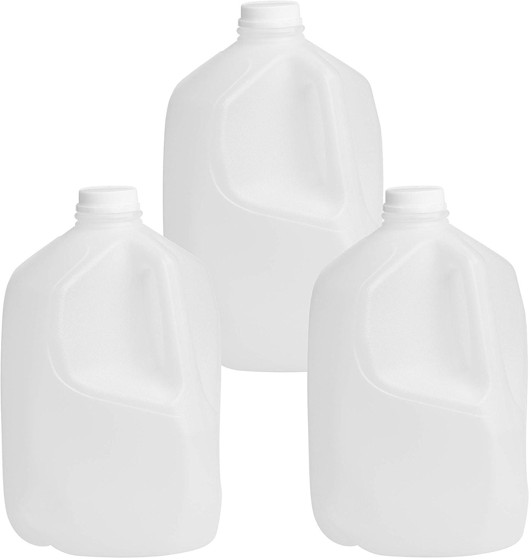 Empty Gallon Jugs With Caps, 3pk 1 Gallon Milk Jugs Plastic Jug and Lids