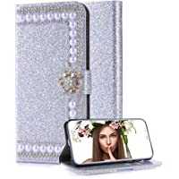 Aearl Huawei P20 Pro Diamond Wallet Case for Women,for Huawei P20 Pro Shiny Silver Leather,Luxury Fashion Glitter…