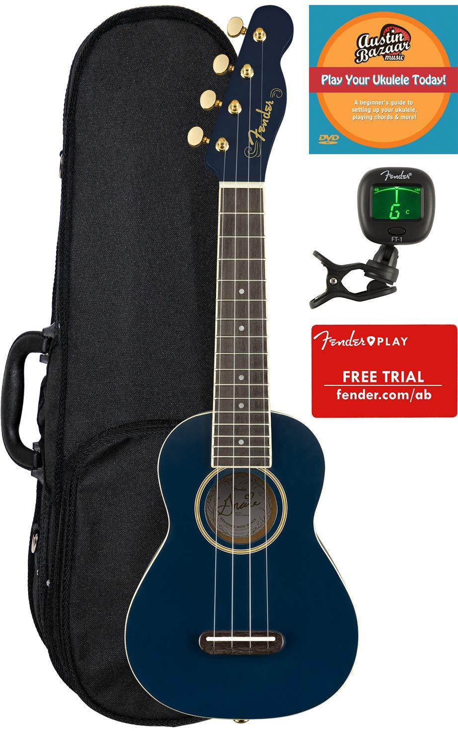 Fender Grace Vanderwaal Moonlight Soprano Ukulele Bundle with Hard Case, Tuner, Fender Play Online Lessons, and Austin Bazaar Instructional DVD by Fender  (Image #1)