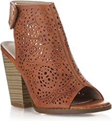 b7833e15b5cd Room Of Fashion New Women s Leatherette Stacked Heel Open Toe Caged Sandal  Ankle Booties