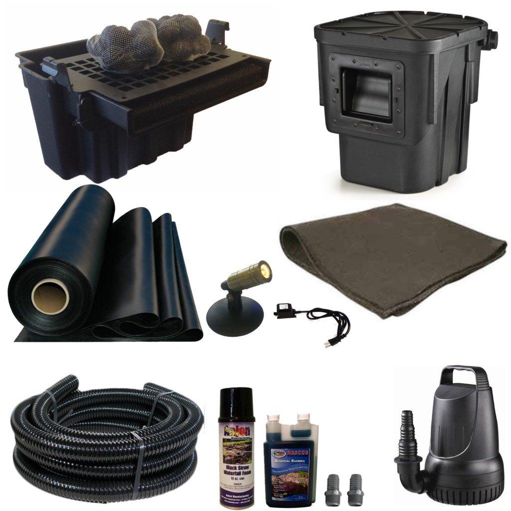 15 x 20 Small Koi Pond Kit 3200 GPH Pump Anjon 16 Inch Waterfall and Skimmer SA0