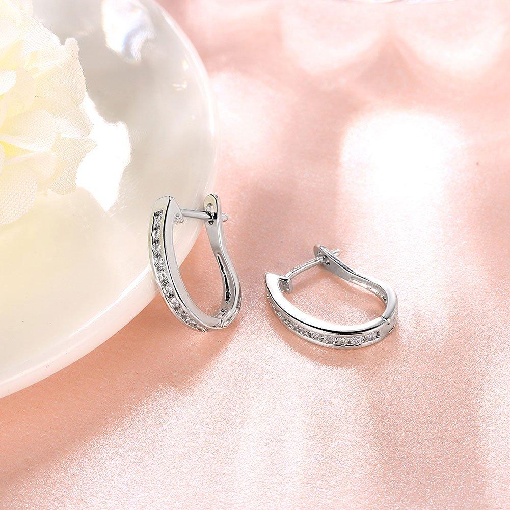con cristal de circonia c/úbica Pendientes de argolla tipo broquel peque/ños de oro blanco de 18 quilates de TPHui para mujer