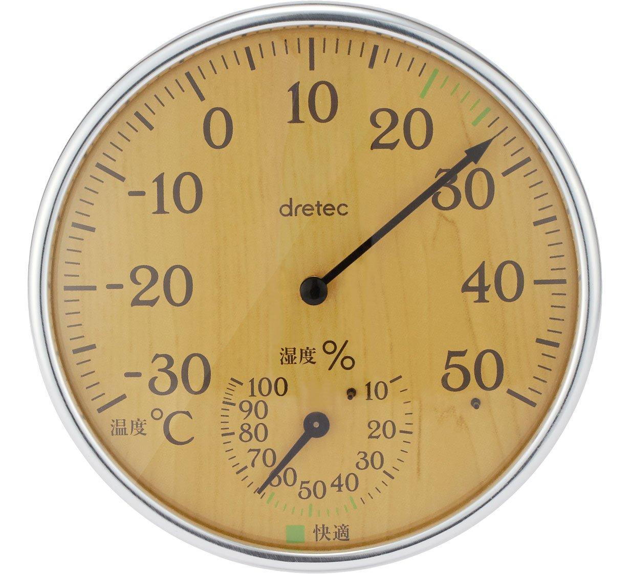 ドリテック アナログ温湿度計 ナチュラルウッド O-319NW