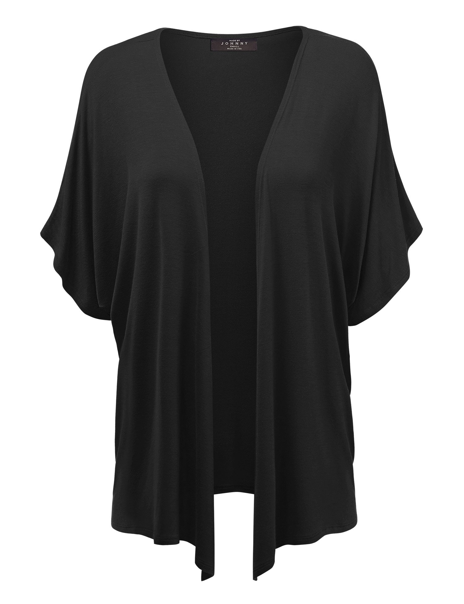 Made By Johnny MBJ Womens Short Sleeve Dolman Cardigan XXXL Black by Made By Johnny
