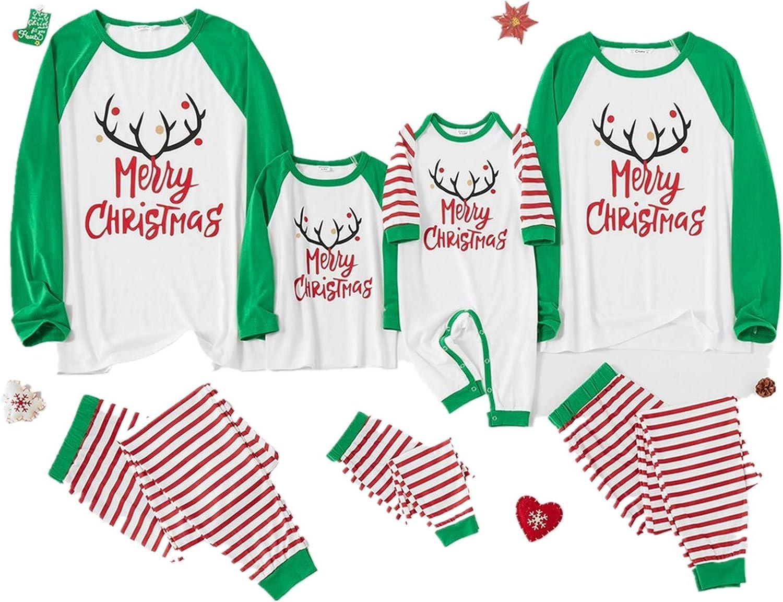 Hotkey Matching Christmas Pjs for Family Deer Letter Print Stripe Long Sleeve Tee /& Pants Loungewear for Women Men Kids Baby