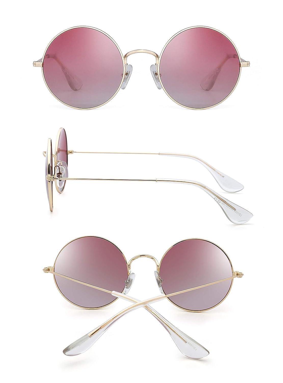 16049e31e1873 Retro Polarizadas Redondas Gafas de Sol Lentes Gradientes Anteojos de Metal  Dorado Mujer(Dorado Rojo Polarizado)  Amazon.com.mx  Ropa