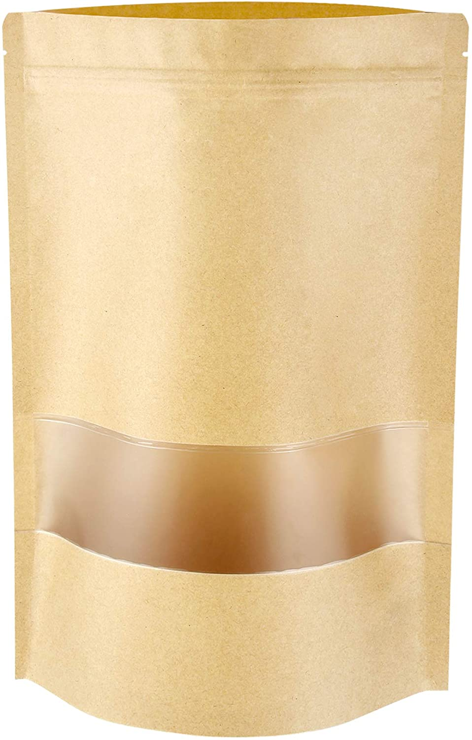 Stand Up Pouch Bags, 100 Pack Kraft Pouch with Tear Notch and Matte Window, Resealable Zip Lock Food Storage Bag (4.7IN X 7.9IN)