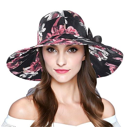 1e5570e0dc0 Women s Foldable Wide Brim Sun Hat Summer Outdoor Floppy Beach Cap Black
