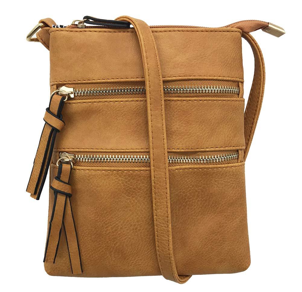 FairyBridal Triple Zipper Mutil-Pocket Leather Messenger Bag for Women,Crossbody Bag 5 Colors Satchel Purse (khaki(pu leather))