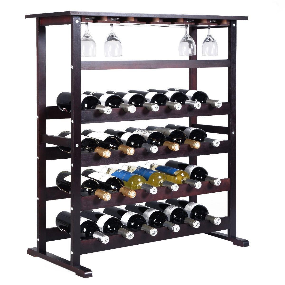 MasterPanel - 24 Bottle Wood Wine Rack Holder Storage Shelf Display w/ Glass Hanger #TP3357