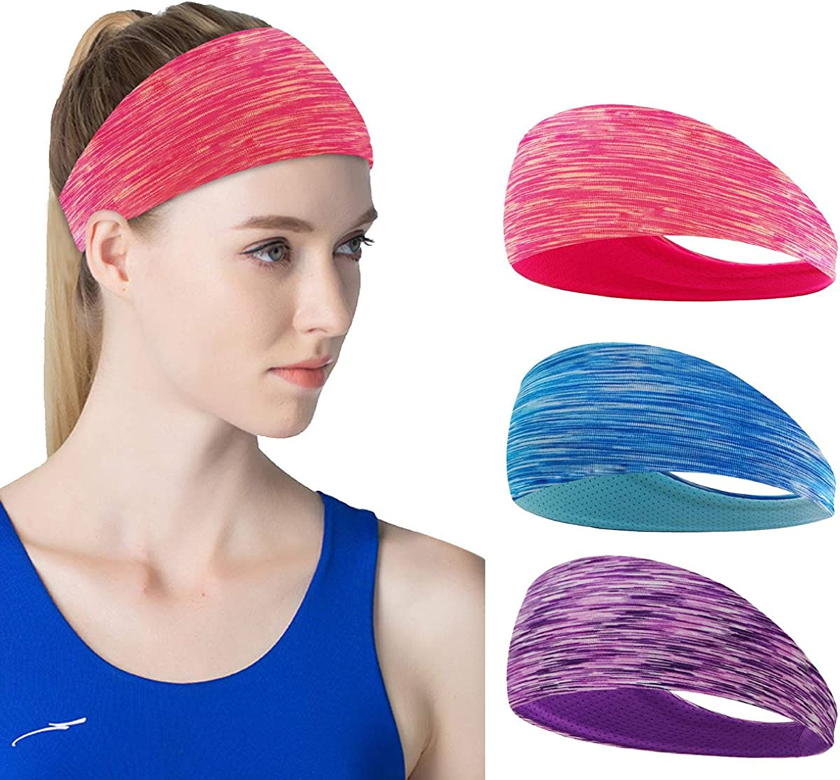 Kapsuen 3 Pack Workout Headbands for Women-Sweat Wicking Hair Bands for Sports Yoga Fitness Running Elastic -Non Slip and Under Helmets