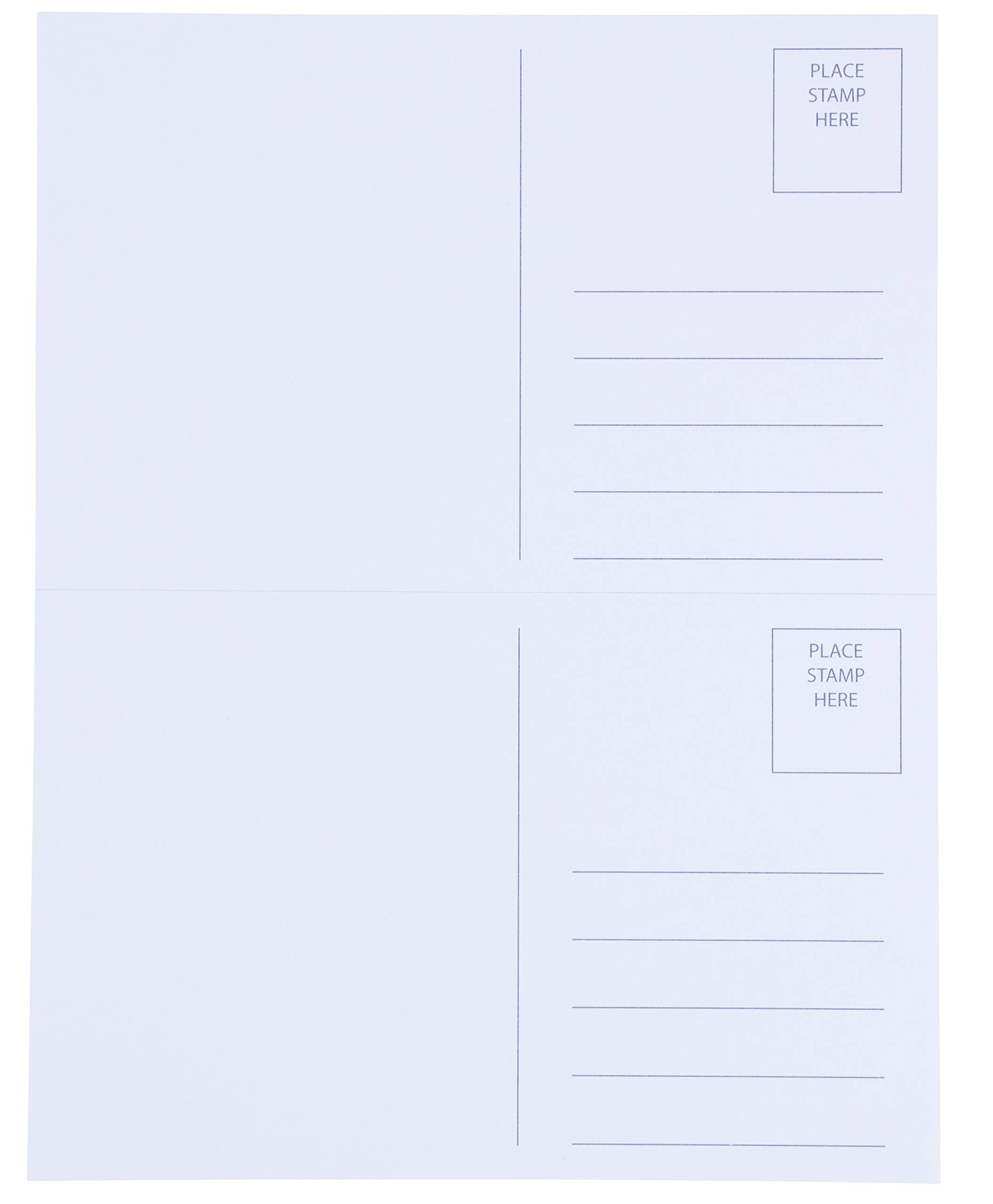 Blank Postcards - 200-Sheet 400-Cards Printable Postcards, 2-Up Perforated Laser and Inkjet Printer Postcards, Self Mailer Mailing Side Postcards, White, 8.5 x 5.5 Inches Per Postcard