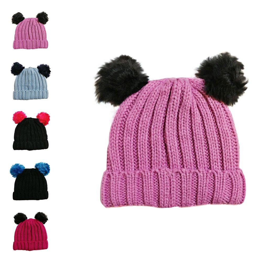 c07b0d53ee8 LIVERPOOL ENTERPRISES LTD Girls Single and Double Pom Pom Winter Hats Caps  Kids Beanies Single Pom Double Pom Cosy Knitted Beanies (Light Pink   Black)