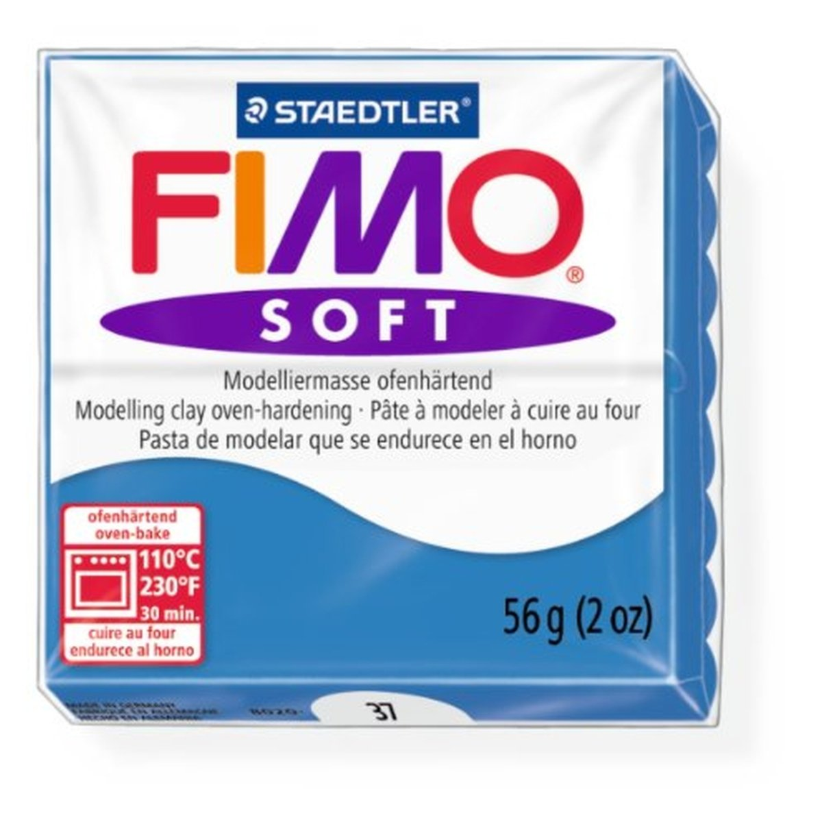 Staedtler Fimo Soft Pacific Blue (37) Oven Bake Modelling Clay Moulding Polymer Block Colour 56g (1 Pack)