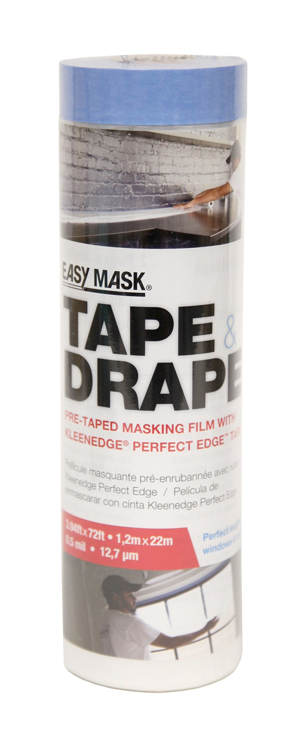 Easy Mask Tape & Drape Pre-Tape Masking Film 3.94 x 72 feet with 14 day PerfectEdge Tape
