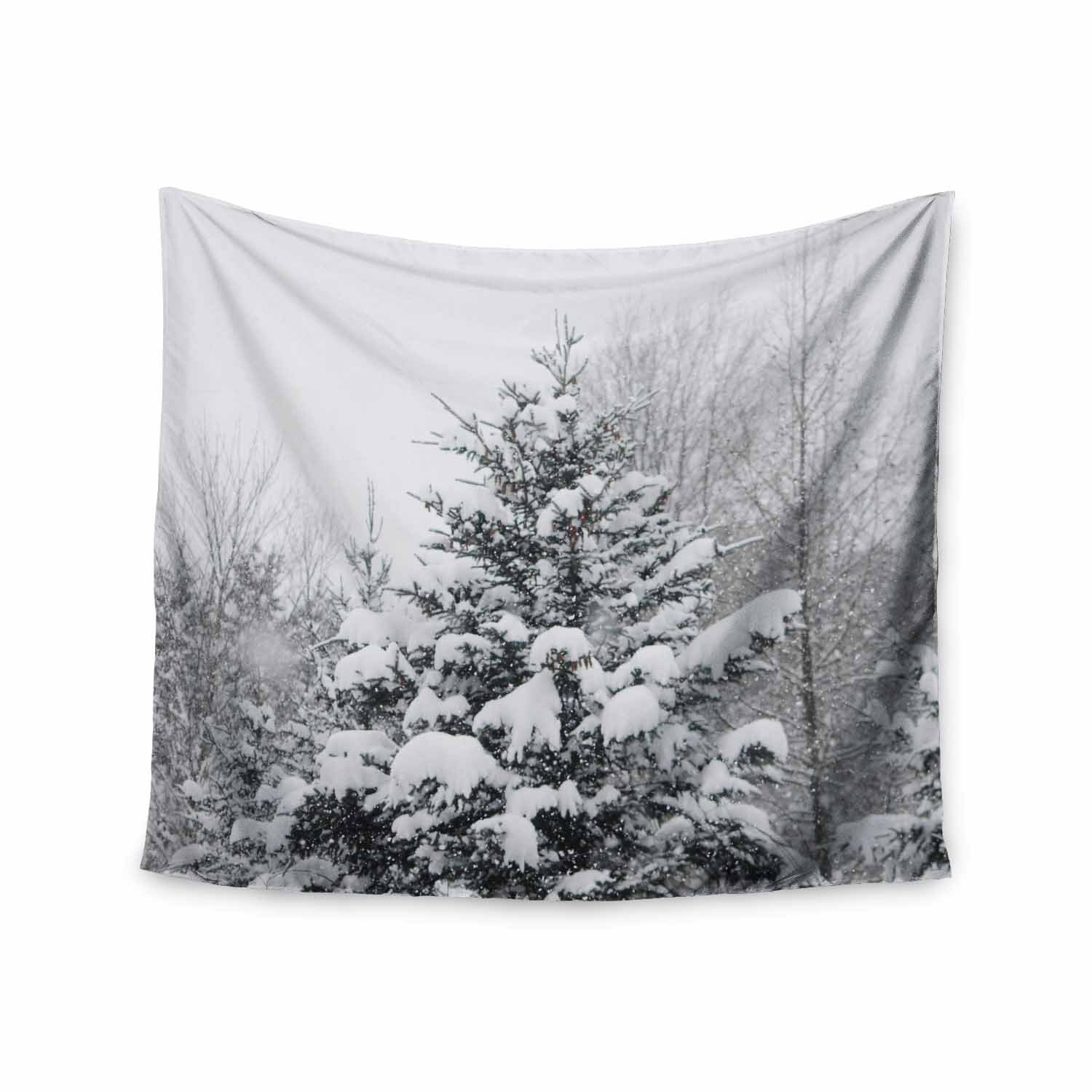 51 x 60 Wall Tapestry Kess InHouse Chelsea Victoria Cool Yule White Green Nature Photography