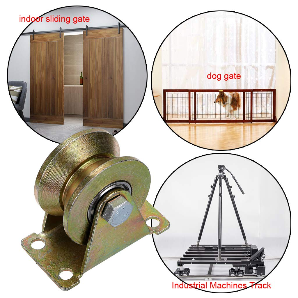 Industrial Machines Sliding Gate Skelang 2 Groove Wheel Heavy Duty Rigid Caster with Bracket for Inverted Track Loading Capacity 660 lbs Wire Rope Rail Rolling Gate