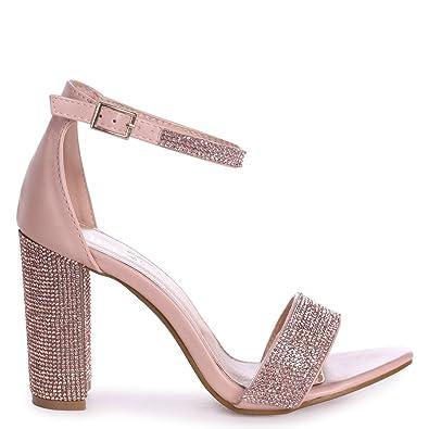 f9c54fa382 Linzi Kesha - Nude Nappa Block Heel With Diamante Detail: Amazon.co.uk:  Shoes & Bags