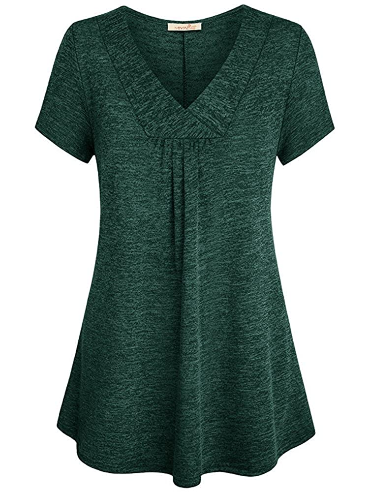 Blackish Green MiYang Short Sleeve V Neck Casual Flare Tunic Top Loose Blouse for Women