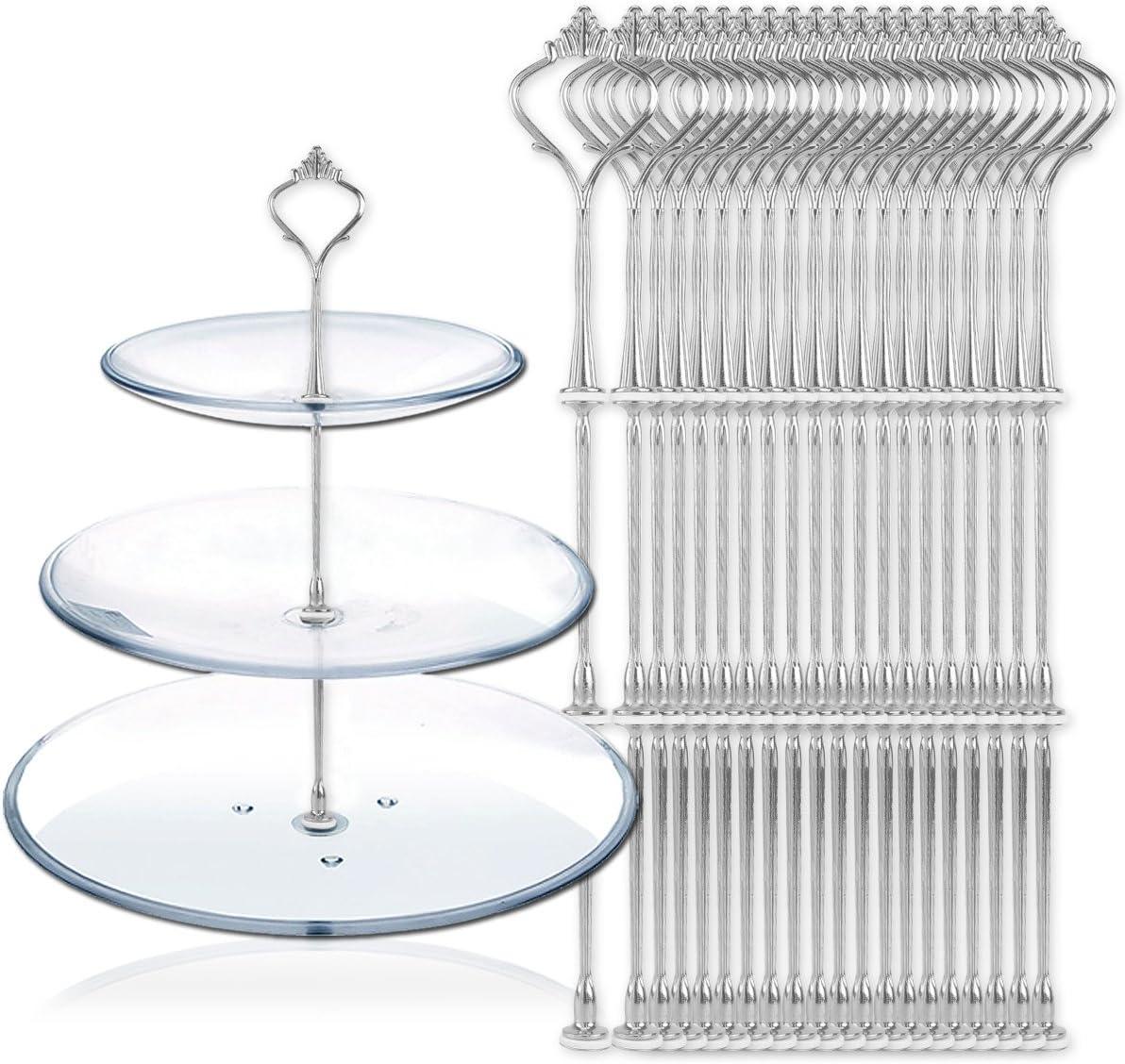 Hamimelon 20 Set Silberfarbe Silber Metallstange Mittellochausstech bis 3 Etagere Etage f/ür Hochzeitstorte Tortenst/änder Tortenhalter Servierplatte 32cm