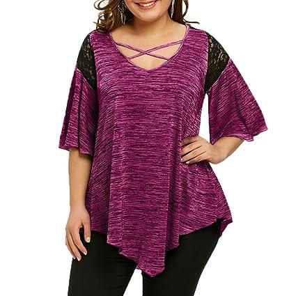 Camisetas Mujer Tallas Grandes ❤ L~5XL, LILICAT® 2018 Encaje Patchwork Camiseta