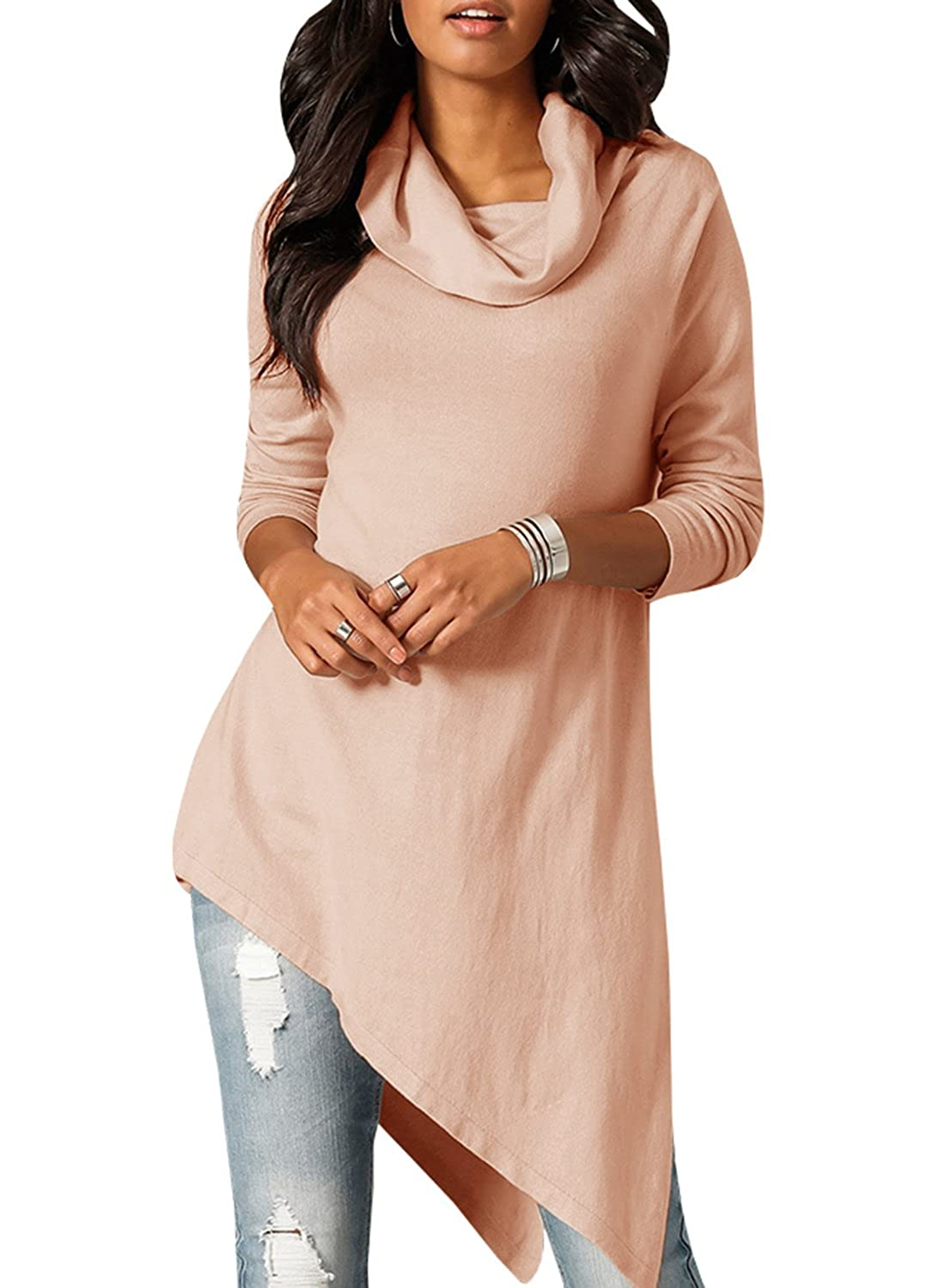 EastLife Womens Long Sleeve Shirts Summer Casual Cowl Neck Long Tunic Tops Sweatshirts