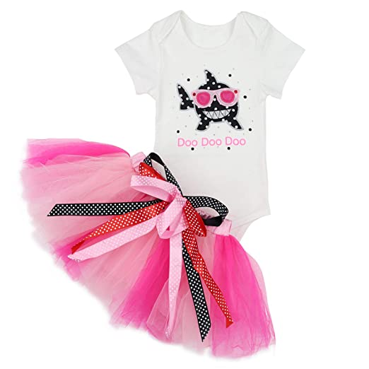 b077c14eb Baby Girls Shark Doo Doo Doo Romper + Tutu Dress 1st Birthday Outfit Set 3-