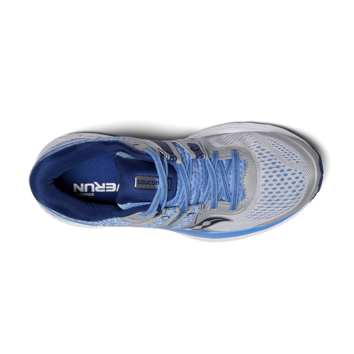 Saucony Women's Omni ISO Running Shoes B07D95NQ42 11.5 C/D US|Silver/Blue/Navy