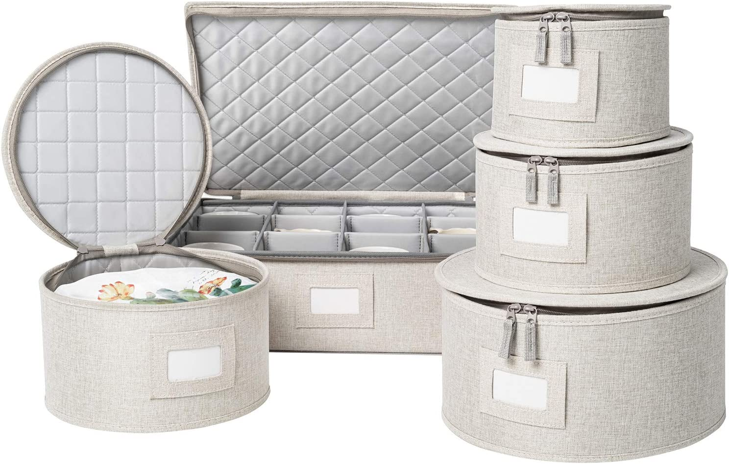 Felt Plate Dividers Included China Storage Set for Dinnerware Storage and Transport Grey