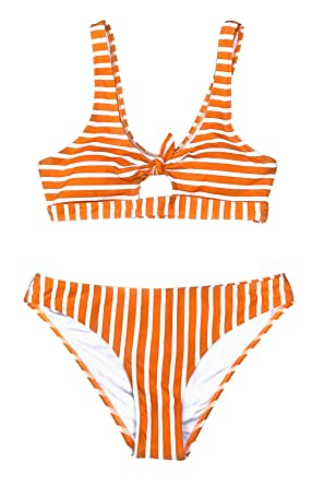 1fd354ef349 CUPSHE Women s Orange and White Tank Stripe Bikini with Front Bowknot  (X-Small (