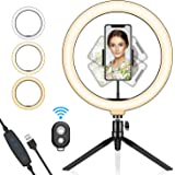 SYOSIN Ring Light with Tripod Stand and Phone Holder, 10.2'' Selfie Right Light for Live Streaming YouTube Video, Dimmable LED Makeup Ring Light with 3 Mode & 11 Brightness Level & Remote Shutter
