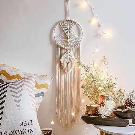 Ivory,13 W /× 29 L Mkouo Macrame Magazine Storage Organizer Mail Holder Wall Mount Cotton Wovening Hanging Pocket,Boho Home Decor,Best